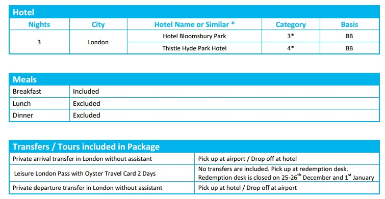 London 3N Leisure Pass hotel  private transfers table